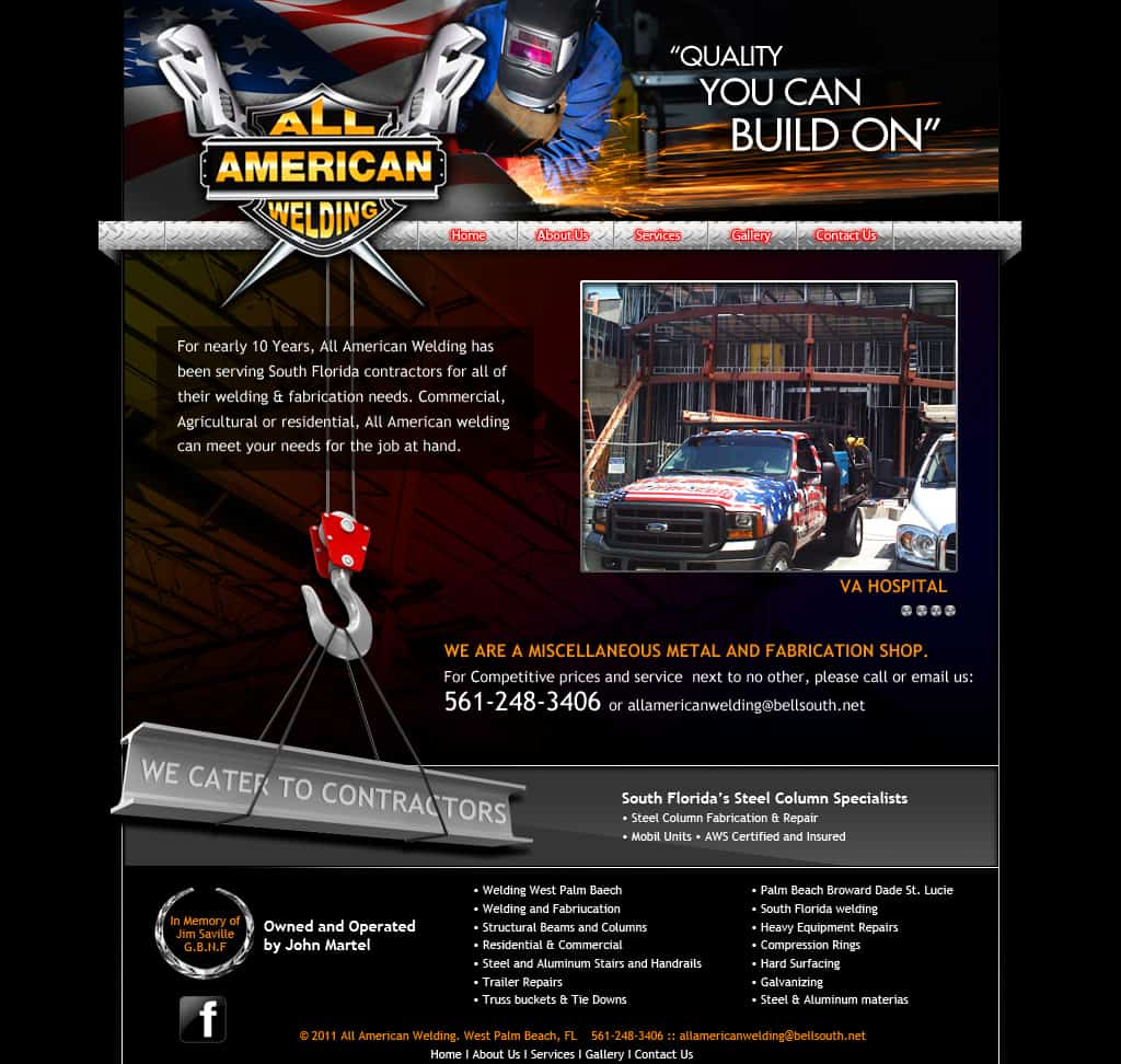 allamericanwelding.com version 2 design home page
