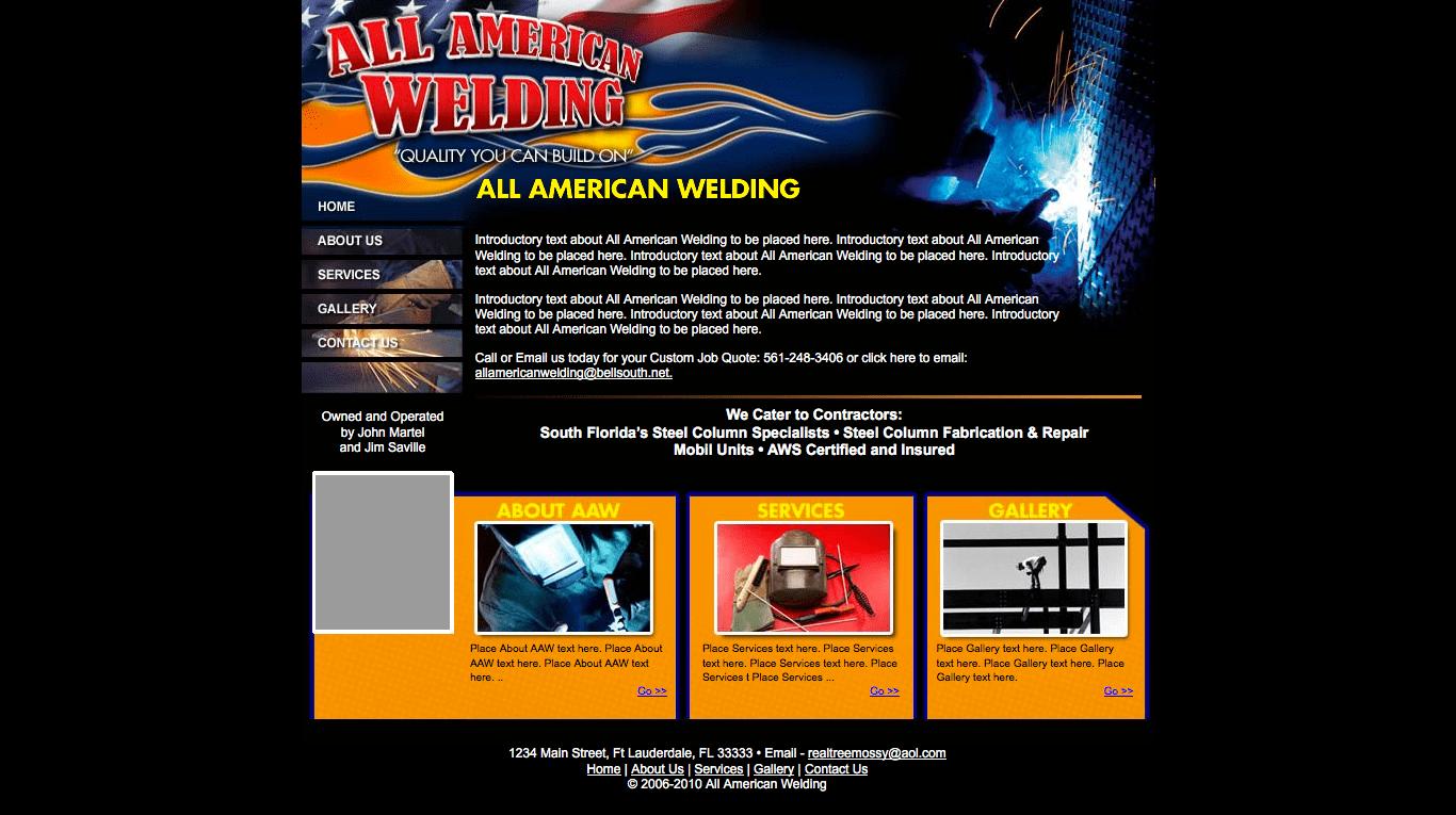 allamericanwelding.com original design home page