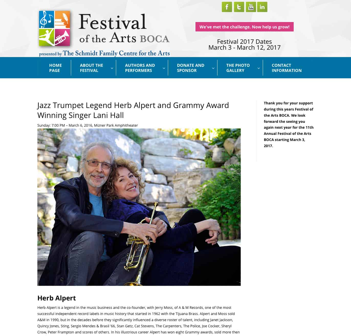 Festival of the Arts BOCA Herb Alpert Lani Hall artists page