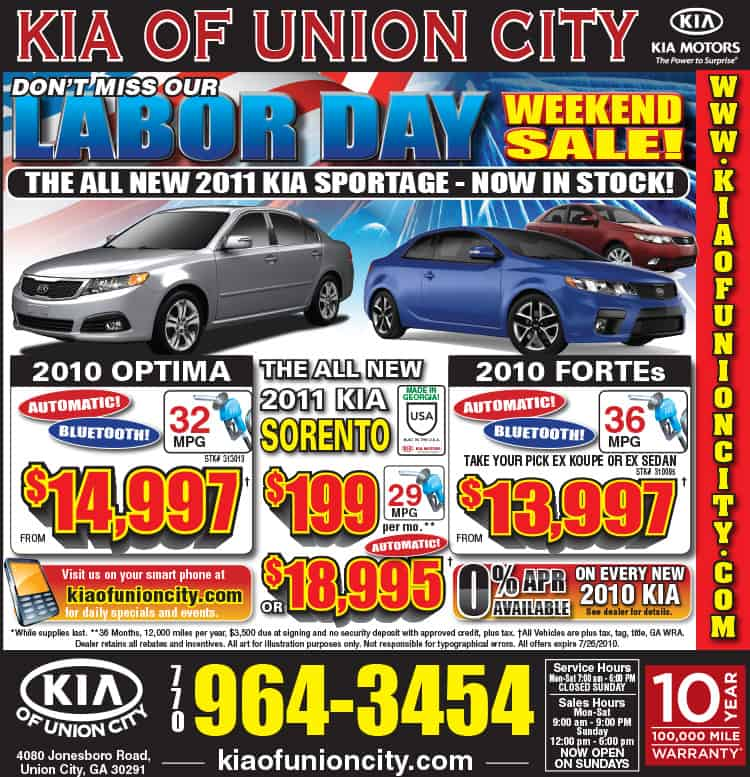Kia of Union City Labor Day Ad