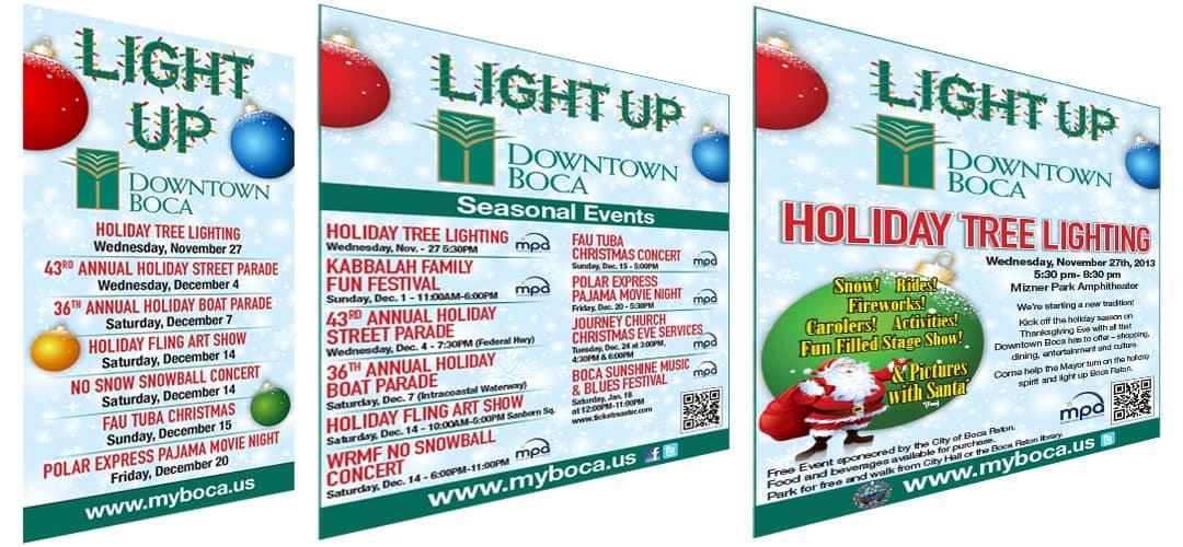 Light Up Downtown Boca Campaign pieces