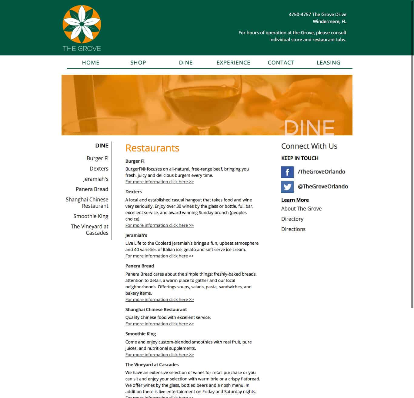 thegroveorlando.com dining index page